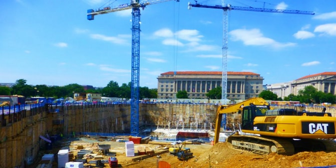Commercial Construction Washington DC Cranes Slurry Wall Bulldozer