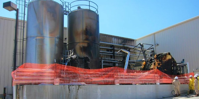 Commercial Industrial Fire Damage HVAC Tanks Silos Investigation