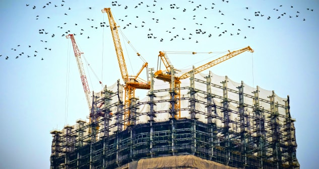 Construction Cranes Commercial High Rise Steel Structural Investigation Engineering Architecture