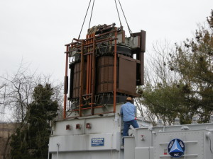 30 MVA Transformer being pulled out of its enclosure